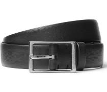 3cm Black Blake Cross-grain Leather Belt