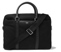 Cross-grain Leather-trimmed Canvas Briefcase