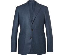 Navy Slim-fit Unstructured Cashmere Blazer
