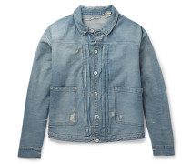 1880s Pleated Distressed Denim Jacket