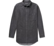 Oversized Printed Denim Shirt