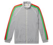 Webbing-Trimmed Iridescent Stretch-Jersey Track Jacket