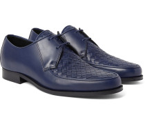 Intrecciato-panelled Leather Derby Shoes