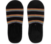 Striped Stretch Cotton-Blend No-Show Socks