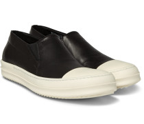 Rubber-trimmed Leather Slip-on Sneakers