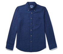 Yabane Button-Down Collar Cotton-Jacquard Shirt