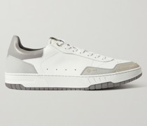 Court Elite Suede-Trimmed Leather Sneakers