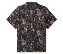 + Rie Takeda Samurai Camp-Collar Printed Cotton Pyjama Shirt
