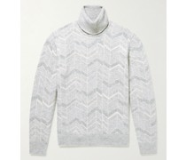 Cashmere, Wool and Silk-Blend Jacquard Rollneck Sweater