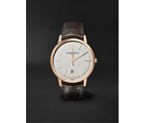 Patrimony Automatic 40mm 18-Karat Pink Gold and Alligator Watch, Ref. No. 85180/000R-9248