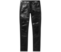 Skinny-Fit Stretch Coated-Denim Jeans
