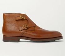 Pebble-Grain Leather Monk-Strap Boots
