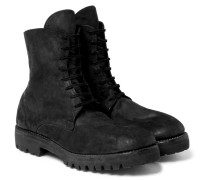 Distressed Cordovan Leather Boots