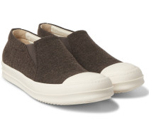 Rubber-trimmed Wool-twill Slip-on Sneakers