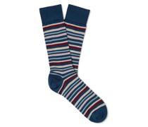 Striped Pima Cotton-Blend Lisle Socks