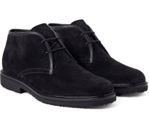 Leather-trimmed Suede Desert Boots