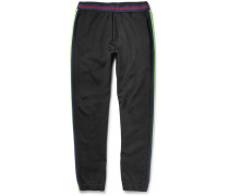 Slim-fit Tapered Stripe-trimmed Cotton-blend Jersey Sweatpants