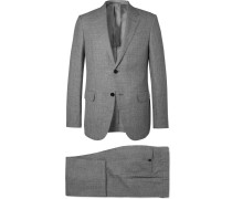 Grey Milano Slim-fit Checked Wool, Linen And Silk-blend Suit
