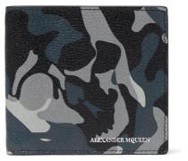 Camouflage-print Pebble-grain Leather Billfold Wallet