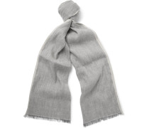 Contrast-tipped Linen And Baby Cashmere-blend Scarf
