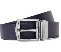 3.5cm Blue And Black Reversible Cross-grain Leather Belt