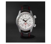MBIII 10th Anniversary Limited Edition Automatic GMT 43mm Stainless Steel and Leather Watch, Ref. MBIII-WH-LE