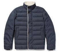 Faux Shearling-trimmed Quilted Nylon Down Jacket
