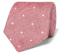 8cm Polka-dot Herringbone Linen And Silk-blend Tie