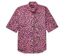 Lenny Slim-fit Button-down Collar Leopard-print Cotton Shirt