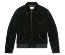 Embroidered Velvet Blouson Jacket