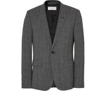 Grey Slim-fit Prince Of Wales Checked Slub Wool-blend Suit Jacket