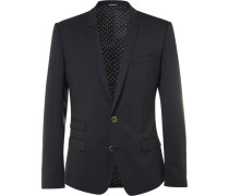 Blue Slim-fit Virgin Wool-blend Blazer