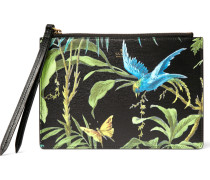 Tropical-print Full-grain Leather Pouch
