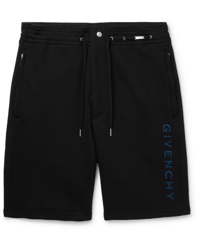 Logo-embroidered Loopback Cotton-jersey Shorts - Black