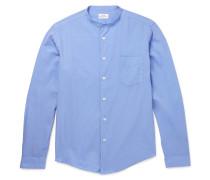 Slim-fit Grandad-collar Cotton Shirt