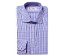 Blue Cutaway-collar Gingham Cotton-poplin Shirt