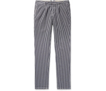 Slim-fit Gingham Cotton Trousers