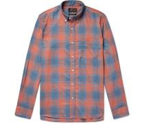 Button-down Collar Checked Woven Shirt