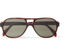 Aviator-Style Tortoiseshell Acetate Sunglasses