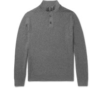 Suede-trimmed Cashmere And Silk-blend Half-zip Sweater