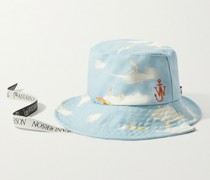 Asymmetric Logo-Embroidered Printed Cotton-Canvas Bucket Hat