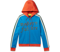 Embroidered And Appliquéd Jersey Zip-up Hoodie