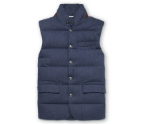 Lloyd Suede-trimmed Quilted Herringbone Wool Down Gilet