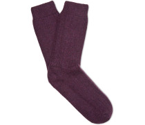 Ribbed Mélange Wool-blend Socks