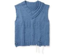 Distressed Cotton-Blend Sweater Vest