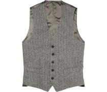 Grey Herringbone Wool Waistcoat