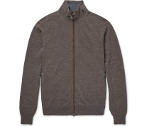 Mayfair Suede-trimmed Wool And Cashmere-blend Zip-up Cardigan