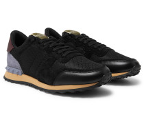 Valentino Garavani Rockrunner Suede, Leather and Canvas Sneakers