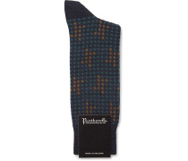 Hopton Houndstooth Merino Wool-blend Socks