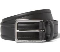 3cm Black Stitched Leather Belt